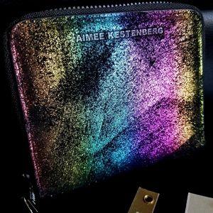 Aimee Kestenberg Black Rainbow Shimmer Zip Wallet